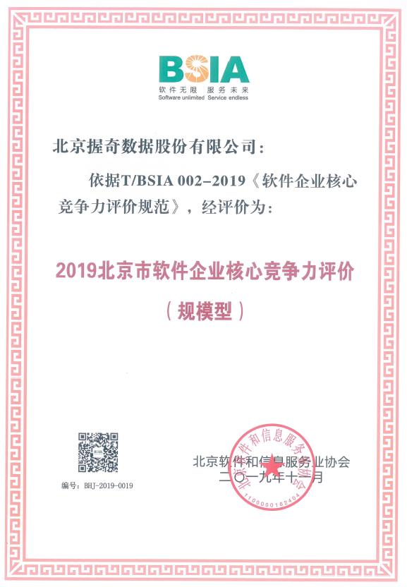 """握奇荣登2019""""北京软件和信息服务业综合实力百强企业""""及""""北京市软件企业核心竞争力评价""""榜单"""